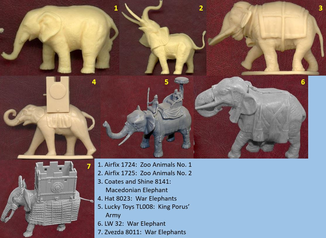 1/72, animals, elephants, Airfix, Coates and Shine, Hat, Lucky Toys, LW, Zvezda