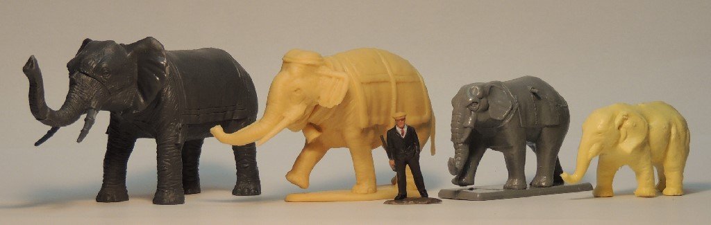 1/72, animals, elephants, Airfix, Coates and Shine, Hat, Lucky Toys
