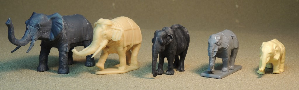 1/72, animals, elephants, Airfix, Coates and Shine, Hat, Lucky Toys, Paleosculpt